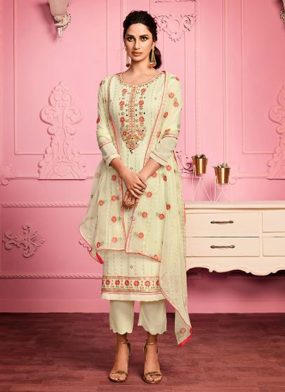 Light Green Embroidered Pant Style Suit