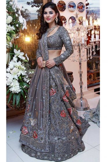 Violet Floral Embroidered Heavy Bridal/ Party Lehenga