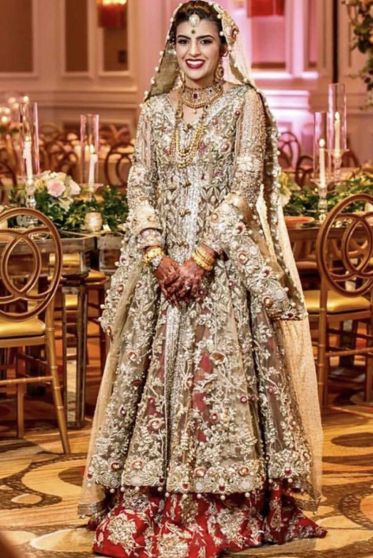 Cream and Red Embroidered Heavy Bridal Lehenga
