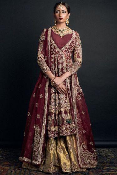 Burgundy and Gold Embroidered Heavy Bridal Lehenga