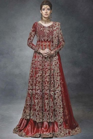 Brick Red and Gold Embroidered Heavy Bridal Lehenga