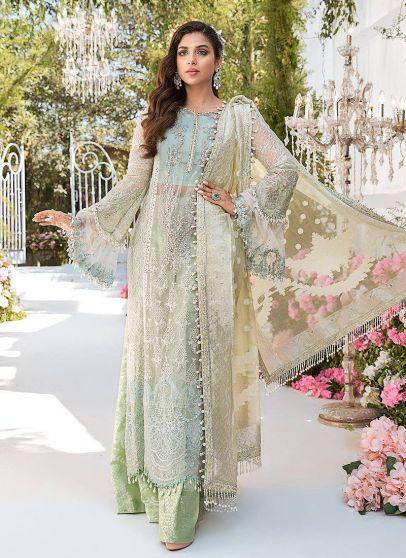 Sky Blue Mint Green and Lemon Embroidered Pakistani Salwar Kameez