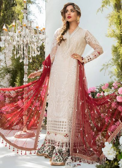 Off White and Deep Red Embroidered Pakistani Salwar Kameez