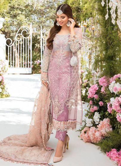 Shades of Lilac Pink and Blue Grey Embroidered Pakistani Salwar Kameez