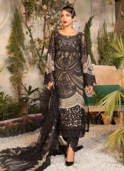 Black and Coffee Embroidered Pakistani Salwar Kameez