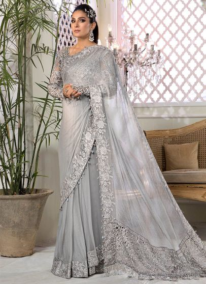 Silver Grey Embroidered Pakistani Saree