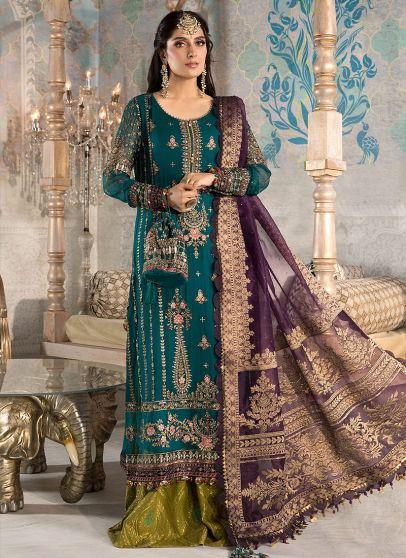 Teal Blue Olive Green and Purple Embroidered Pakistani Palazzo Suit