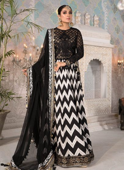 Black and White with Gold Embroidered Pakistani Anarkali Suit