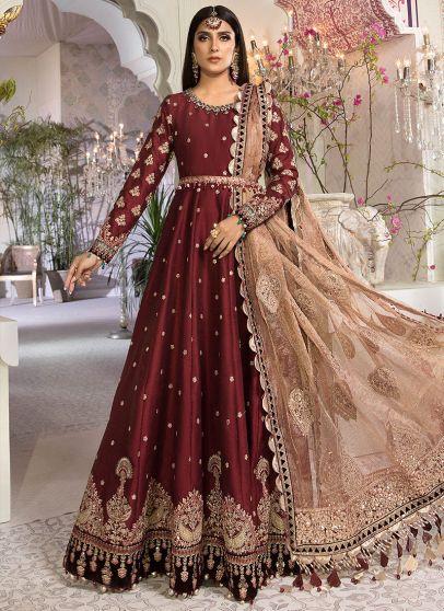 Maroon and Salmon Pink Embroidered Pakistani Anarkali Suit