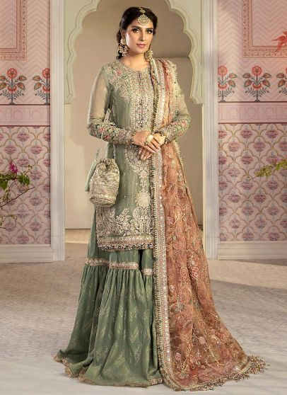Pistachio Green and Salmon Pink Embroidered Pakistani Gharara Suit