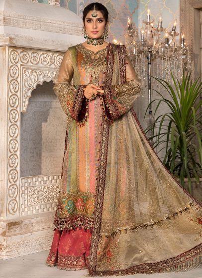 Bronze Maroon and Carrot Pink Embroidered Pakistani Palazzo Suit