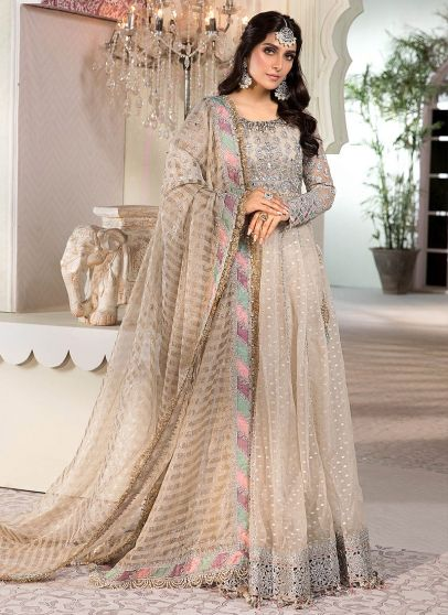 Pear White Embroidered Pakistani Anarkali Suit