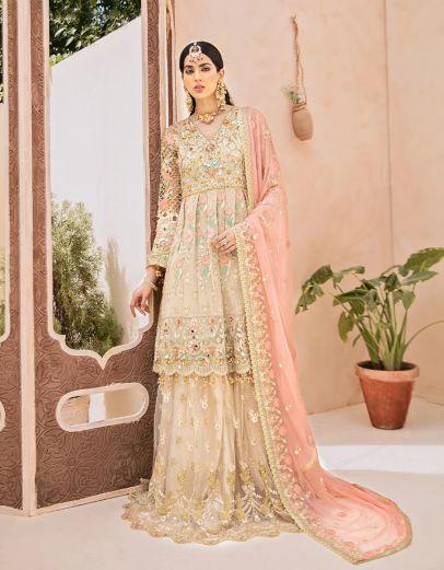 Salmon Blush Embroidered Pakistani Sharara Suit