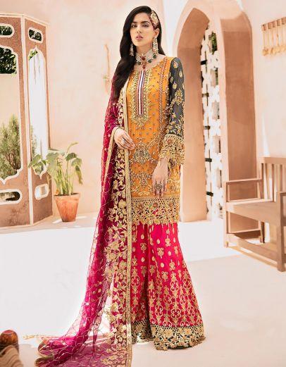 Carnation Rose Embroidered Pakistani Palazzo Suit