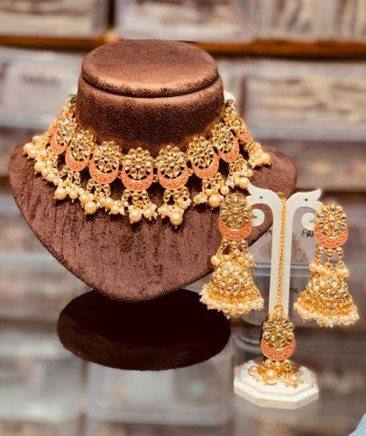 Polkiand Handpainted Necklace set