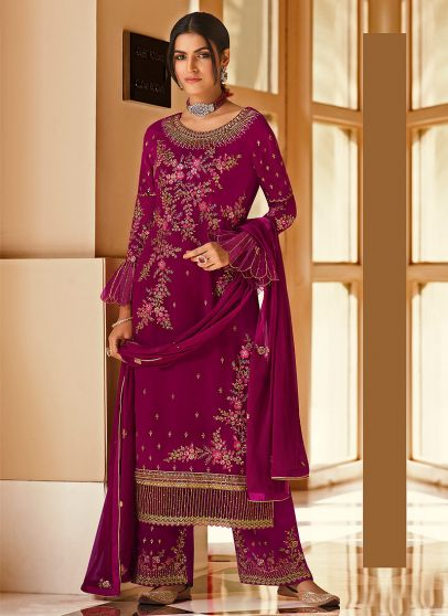 Magenta and Gold Embroidered Pant Suit