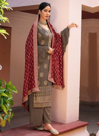 Grey and Maroon Embroidered Pant Style Suit
