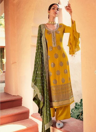 Yellow and Green Embroidered Pant Style Suit