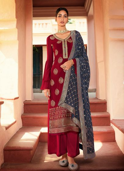 Red and Grey Embroidered Pant Style Suit