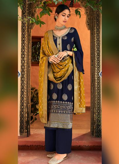 Blue and Yellow Embroidered Pant Style Suit