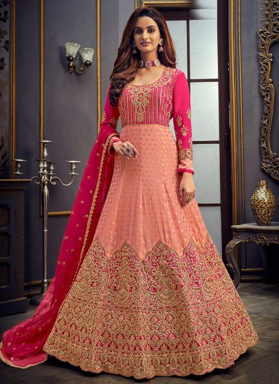 Peach and Pink Embroidered Anarkali