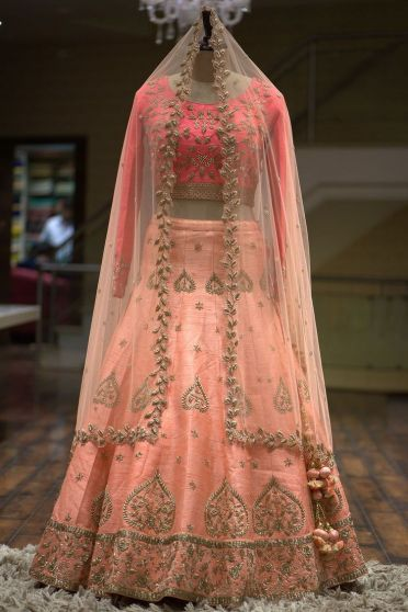 Peach and Pink Embroidered Heavy Bridal Lehenga