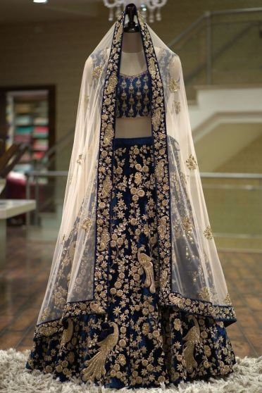 Midnight Blue and White Embroidered Heavy Bridal Lehenga