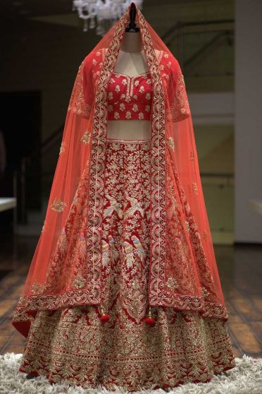 Red and Gold Embroidered Heavy Bridal Lehenga