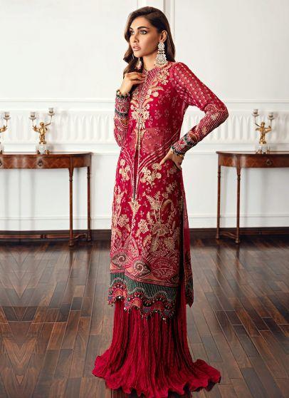 Ruby Embroidered Pakistani Sharara Suit