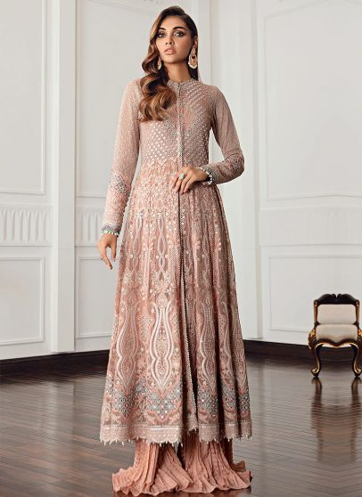 Diamante Embroidered Pakistani Sharara Suit