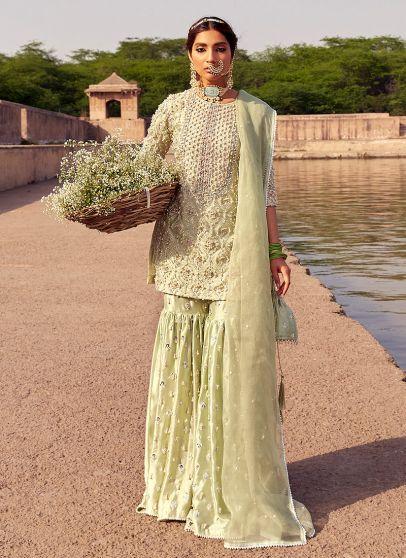 Zeenat Heavy Embroidered Pakistani Gharara Suit