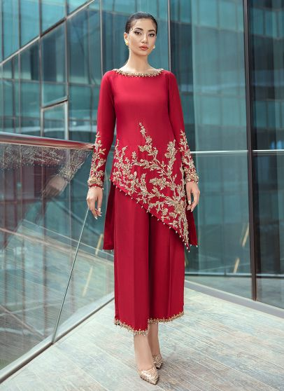 Red Rouge Embroidered Pakistani Palazzo Suit