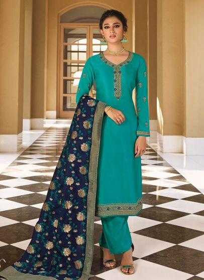 Aqua and Blue Embroidered Pant Style Suit