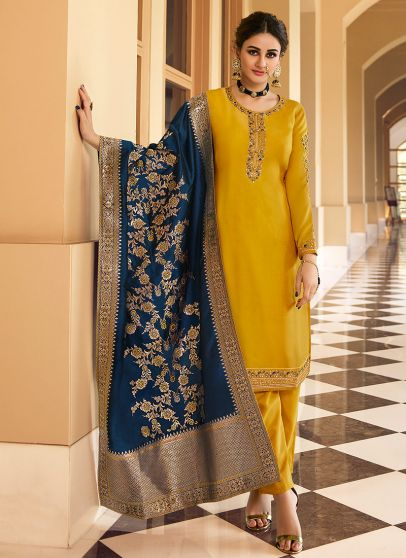 Yellow and Blue Embroidered Pant Style Suit