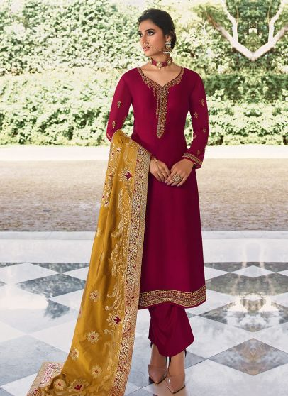 Pink and Yellow Embroidered Pant Style Suit