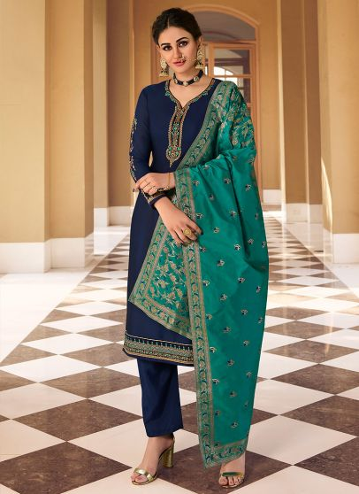 Blue and Teal Embroidered Pant Style Suit