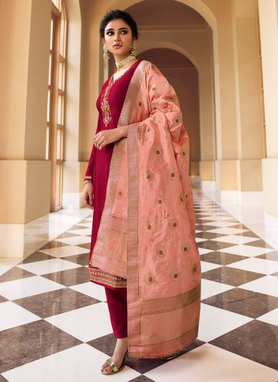 Pink and Peach Embroidered Pant Style Suit
