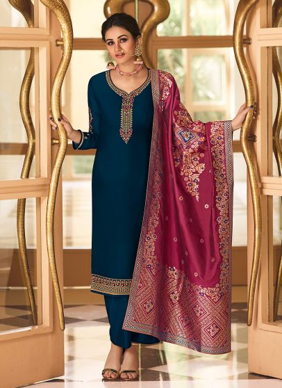 Blue and Magenta Embroidered Pant Style Suit