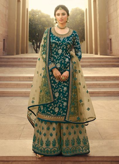 Teal and Beige Embroidered Palazzo Suit