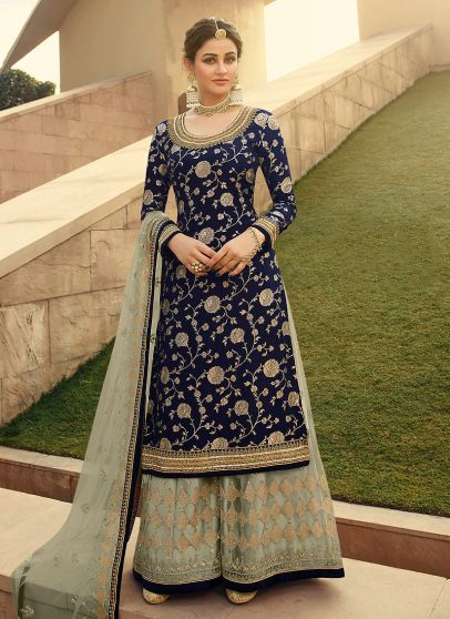 Blue and Grey Embroidered Palazzo Suit