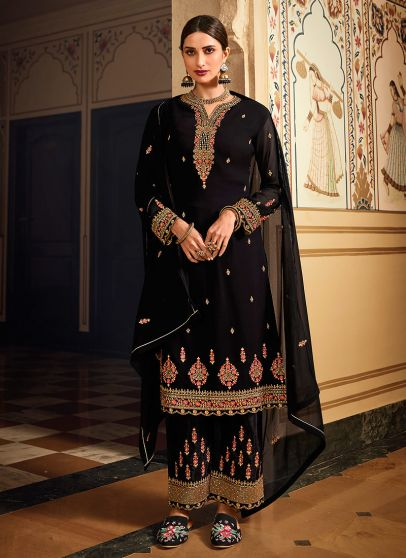 Black and Gold Embroidered Pant Suit