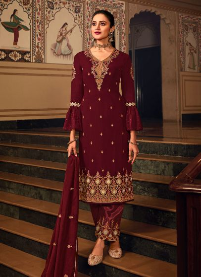 Maroon and Gold Embroidered Pant Suit