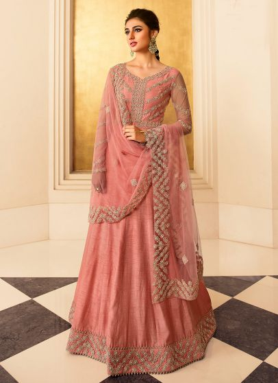 Pink and Gold Embroidered Anarkali