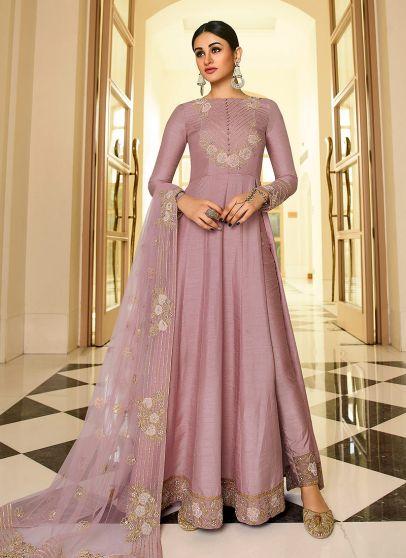 Lilac Purple Embroidered Anarkali