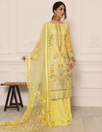 Lamour Luxury Chiffon Embroidered Pakistani Palazzo Suit