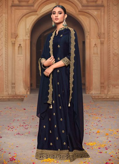 Blue and Gold Embroidered Gown