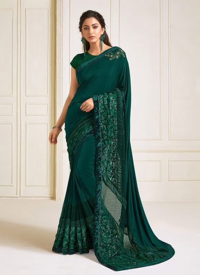 Teal and Green Embroidered Saree