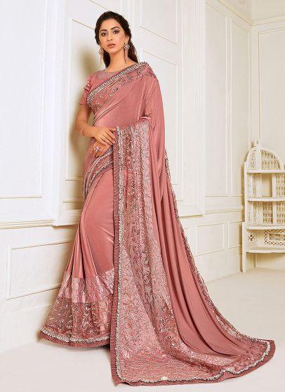 Light Pink Embroidered Saree
