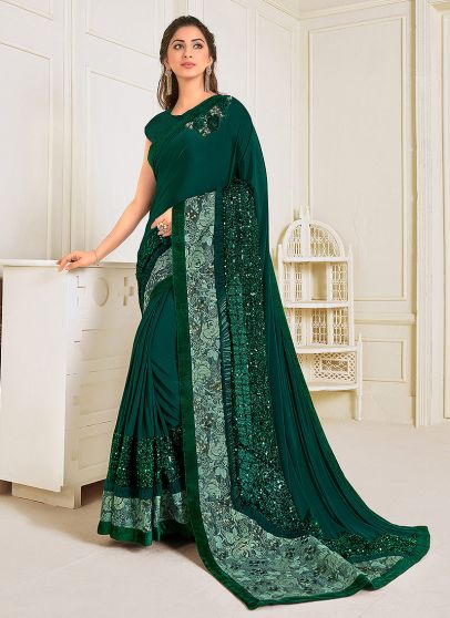 Teal Green Embroidered Saree