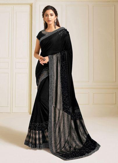 Black Embroidered Saree